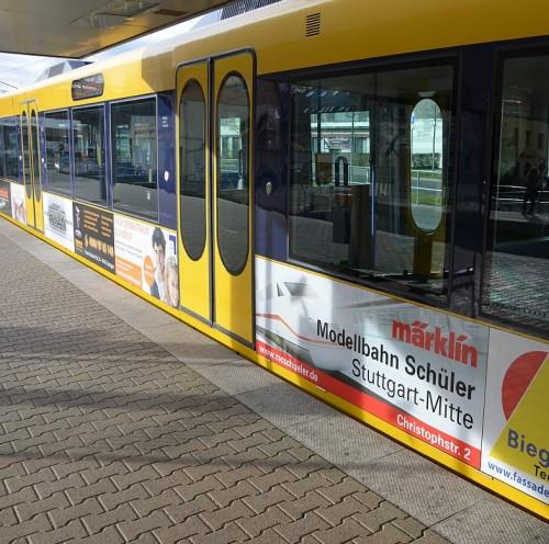 Stuttgarter Stadtbahnwagen mit Märklin Werbung von Modellbahn Schüler