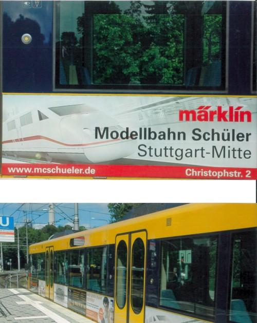 SSB Stadtbahnwagen mit Märklin Reklame von Modelleisenbahn Center Schüler