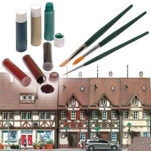 Patinier-Set: je 3 Flüssigfarben und Trockenpulver und 3 Pinsel  | günstig bestellen bei Modelleisenbahn Center  MCS Vertriebs GmbH