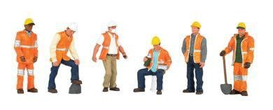 1:50 Arbeiter mit orangenen Schutzwesten und Helmen - Bachmann  | günstig bestellen bei Modelleisenbahn Center  MCS Vertriebs GmbH