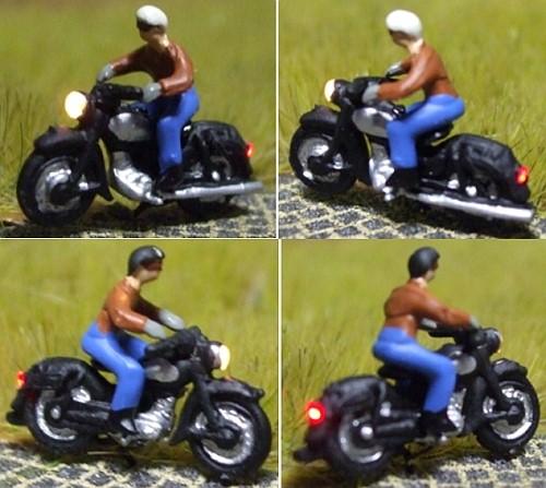 1:160 Motorrad Fahrer mit Mütze + Brille  - Noch Figur beleuchtet by Bicyc-LED | günstig bestellen bei Modelleisenbahn Center  MCS Vertriebs GmbH