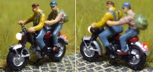 1:160 Motorrad Fahrer mit Latzhose + Sozius  - Noch Figur beleuchtet by Bicyc-LED | günstig bestellen bei Modelleisenbahn Center  MCS Vertriebs GmbH