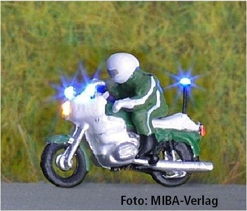 1:160 Polizei-Krad mit 3-fach Blaulicht, grün - benötigt Blinkgeber 091-873888   - Noch Figur beleuchtet by Bicyc-LED | günstig bestellen bei Modelleisenbahn Center  MCS Vertriebs GmbH
