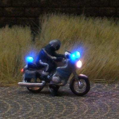 1:160 Polizei-Krad mit 3-fach Blaulicht, blau-silber - benötigt Blinkgeber 091-873888   - Noch Figur beleuchtet by Bicyc-LED | günstig bestellen bei Modelleisenbahn Center  MCS Vertriebs GmbH