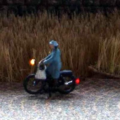 1:220 Radfahrerin mit Mantel + Tasche   - Preiser Figur beleuchtet by Bicyc-LED | günstig bestellen bei Modelleisenbahn Center  MCS Vertriebs GmbH