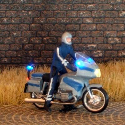1:87 BMW Polizei-Krad blau-silbern mit 3-fach Blaulicht - benötigt Blinkgeber 091-873888   - Preiser Figur beleuchtet by Bicyc-LED | günstig bestellen bei Modelleisenbahn Center  MCS Vertriebs GmbH