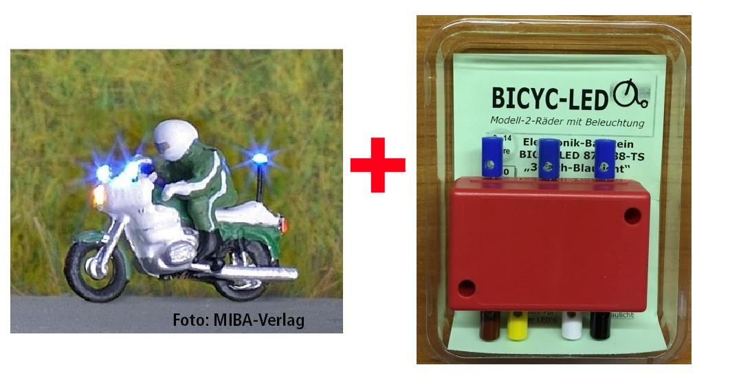 1:160 Polizei-Set: 1 Motorrad mit 3-fach-Blaulicht + Blinkgeber - Bicyc-LED - Beleuchtung vorne weiss, hinten rot + Blaulicht | günstig bestellen bei Modelleisenbahn Center  MCS Vertriebs GmbH