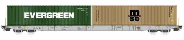H0 Sggnss 80 VTG-AAE grau  beladen mit 1 Evergreen und 1 MSC Container - IGRA 96010010  | günstig bestellen bei Modelleisenbahn Center  MCS Vertriebs GmbH