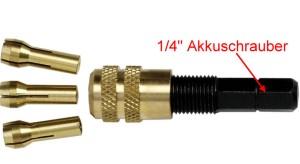 Adapter: Bohrfutter mit 3 Spannzangen für handelsübliche Akkuschrauber 1-4  - verwenden Sie Ihren Akkuschrauber für die Modellbahn! | günstig bestellen bei Modelleisenbahn Center  MCS Vertriebs GmbH