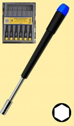 Schraubendreher-Set: 6 feine Sechskant-Steckschlüssel  - ideal für alle Modellbahn-Gestängeschrauben | günstig bestellen bei Modelleisenbahn Center  MCS Vertriebs GmbH