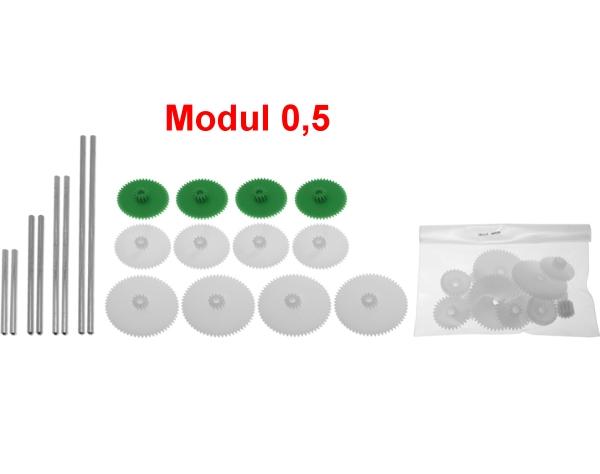 Zahnrad m=0,5 - Set mit 24 Zahnrädern, 2 Schnecken und 8 Achsen zum Getriebe-Selbstbau  | günstig bestellen bei Modelleisenbahn Center  MCS Vertriebs GmbH