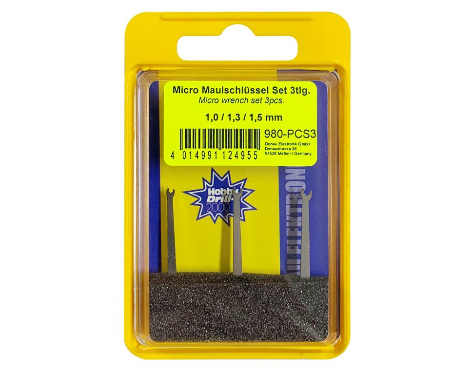 Micro-Maulschlüssel-Set mit Schlüsselweiten 1,0 - 1,3 - 1,5 mm  | günstig bestellen bei Modelleisenbahn Center  MCS Vertriebs GmbH