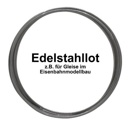 Edelstahllot, VA-LOT d=1 mm, 1m= ca.5,5g  - zum Löten von Gleisen im Modelleisenbahnbau | günstig bestellen bei Modelleisenbahn Center  MCS Vertriebs GmbH