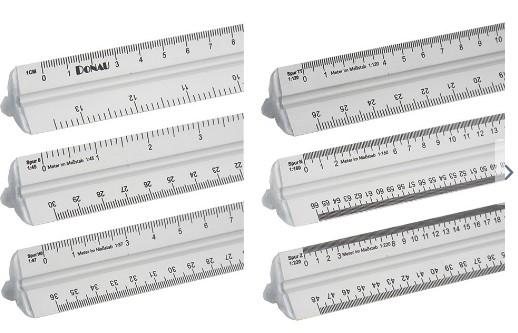 Maßstabslineal, L=300 mm lang, Alu  - mit cm-Einteilung und Raster für 4 Modellbahn-Maßstäbe | günstig bestellen bei Modelleisenbahn Center  MCS Vertriebs GmbH