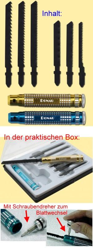 Profilinie Handsäge mit 6 verschienden Sägeblättern für viele Materialien und 2 Alu-Griffen   | günstig bestellen bei Modelleisenbahn Center  MCS Vertriebs GmbH