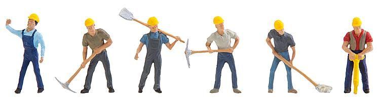 1:87 Arbeiter mit gelbem Helm, Werkzeug und Arbeitskleidung  - Preiser made for Faller  150910  | günstig bestellen bei Modelleisenbahn Center  MCS Vertriebs GmbH