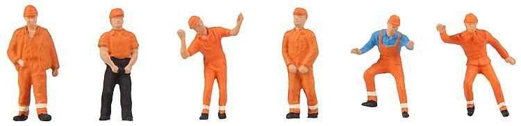 1:87 Arbeiter (Rangierer) mit orangenem Helm und orangener Schutzkleidung  - Preiser made for Faller  150940  | günstig bestellen bei Modelleisenbahn Center  MCS Vertriebs GmbH