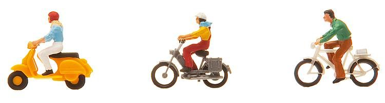 1:87 Fahrrad- und Mopedfahrer - Preiser made for Faller 151079  | günstig bestellen bei Modelleisenbahn Center  MCS Vertriebs GmbH
