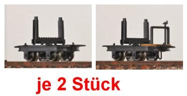 H0e Drehschemelloren, je 2 mit und 2 ohne Bremse - Minitrains 3112  | günstig bestellen bei Modelleisenbahn Center  MCS Vertriebs GmbH