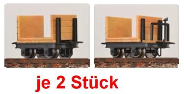H0e Stirnbordloren, je 2 mit und 2 ohne Bremse - Minitrains 3114  | günstig bestellen bei Modelleisenbahn Center  MCS Vertriebs GmbH
