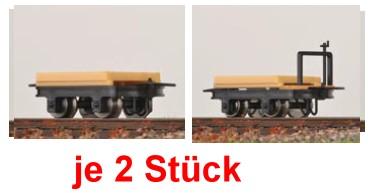H0e Flachloren, je 2 mit und 2 ohne Bremse - Minitrains 3115  | günstig bestellen bei Modelleisenbahn Center  MCS Vertriebs GmbH