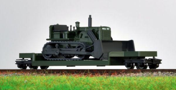 Transportwagen mit Wiking Planierraupe, H0e - Minitrains 5099  | günstig bestellen bei Modelleisenbahn Center  MCS Vertriebs GmbH