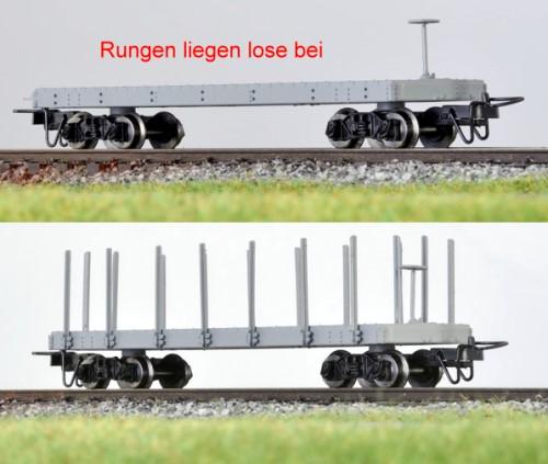 Amerikanischer Flachwagen  grau mit Pershing-Drehgestellen  - Minitrains 5242  - mit separaten Rungen | günstig bestellen bei Modelleisenbahn Center  MCS Vertriebs GmbH