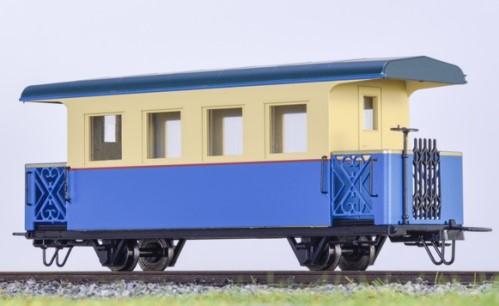 Personenwagen mit offenen Bühnen, blau-beige - Minitrains 5292  | günstig bestellen bei Modelleisenbahn Center  MCS Vertriebs GmbH