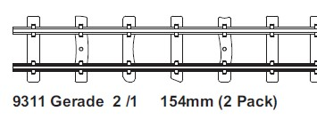 H0e gerades Gleis L=154mm, 2 St mit Feldbahnschwellen  - Minitrains  | günstig bestellen bei Modelleisenbahn Center  MCS Vertriebs GmbH