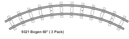H0e gebogenes Gleis, R=140mm, 60°, 3 St. mit Feldbahnschwellen – Minitrains  | günstig bestellen bei Modelleisenbahn Center  MCS Vertriebs GmbH