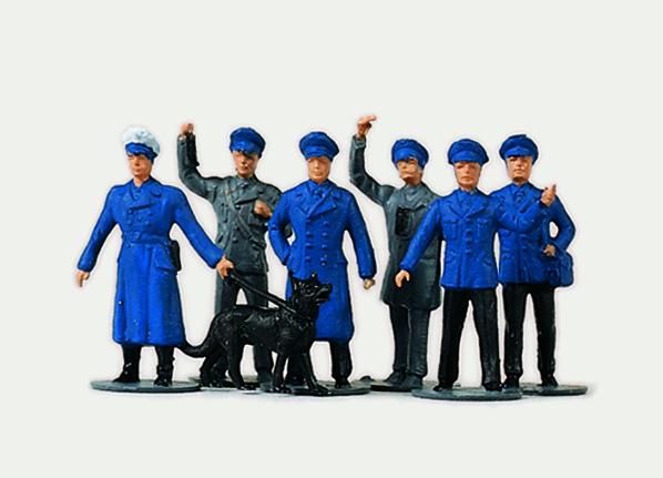 1:87 Bahnpersonal in blauen Uniformen - Preiser 0215000  - preiswerte Standardbemalung | günstig bestellen bei Modelleisenbahn Center  MCS Vertriebs GmbH