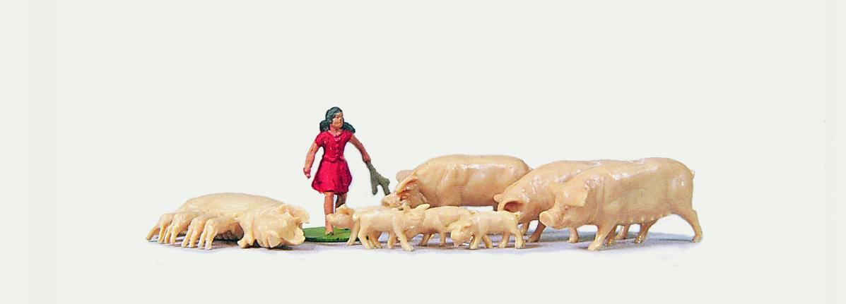 1:87 Magd mit Schweinen - Merten  - preiswerte Standardbemalung | günstig bestellen bei Modelleisenbahn Center  MCS Vertriebs GmbH