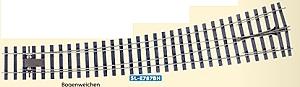 Spur 0 Code 124 Bogenweiche 8° links, L=516mm - Peco SLE787BH  | günstig bestellen bei Modelleisenbahn Center  MCS Vertriebs GmbH