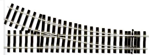 Spur 0 Code 124 Weiche rechts, R=1028mm, L=394mm - Peco STU750  | günstig bestellen bei Modelleisenbahn Center  MCS Vertriebs GmbH