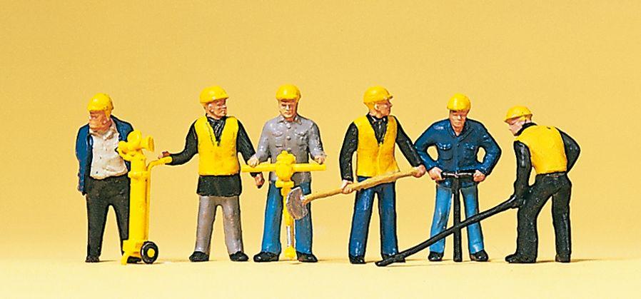 1:87 Gleisbautrupp mit Schaufeln und and. Werkzeugen- Preiser 10035 Art.Nr.663-10035