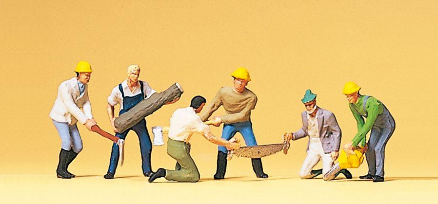 1:87 Waldarbeiter mit Sägen und Äxten- Preiser 10042  | günstig bestellen bei Modelleisenbahn Center  MCS Vertriebs GmbH