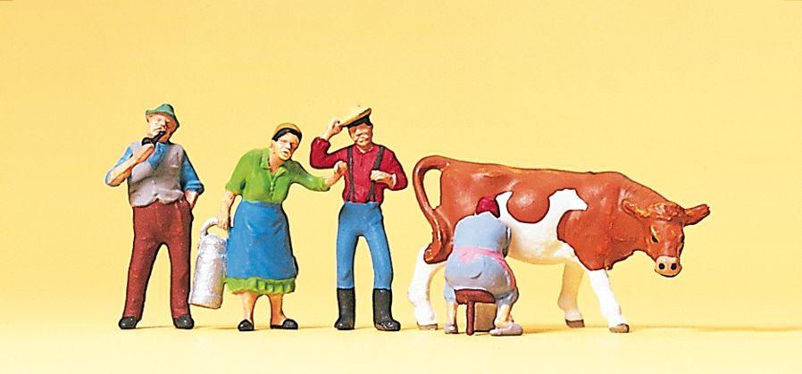 1:87 Mägde und Knechte beim Melken, mit Kuh- Preiser 10044 Art.Nr.663-10044