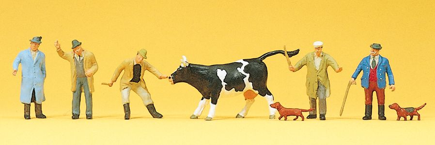 1:87 Viehhandel, div. Figuren mit Kuh und Hunden- Preiser 10048  | günstig bestellen bei Modelleisenbahn Center  MCS Vertriebs GmbH