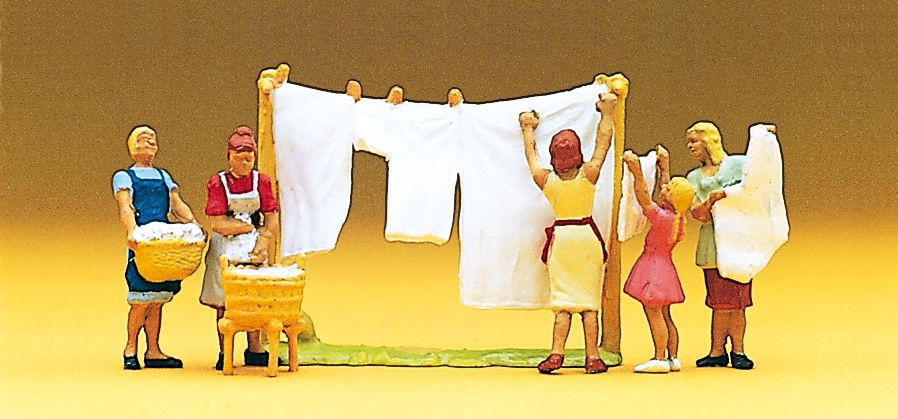 1:87 Wäscherinnen mit Wäscheleine und Waschkörben- Preiser 10050  | günstig bestellen bei Modelleisenbahn Center  MCS Vertriebs GmbH