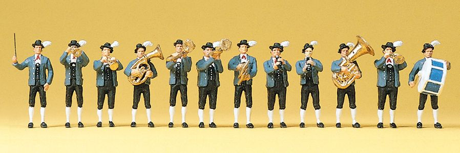 1:87 Bayrische Musikkapelle mit 12 Figuren, bemalt- Preiser 10250    günstig bestellen bei Modelleisenbahn Center  MCS Vertriebs GmbH