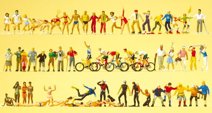 1:87 Superset 5: Sport und Freizeit. 60 exklusiv bemalte Miniaturfiguren - Preiser 13005 Art.Nr.663-13005
