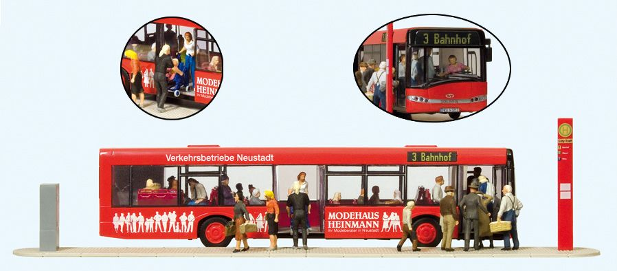 1:87 Superset 9: Stadtbus mit Figuren - Preiser - Inhalt s. Details | günstig bestellen bei Modelleisenbahn Center  MCS Vertriebs GmbH