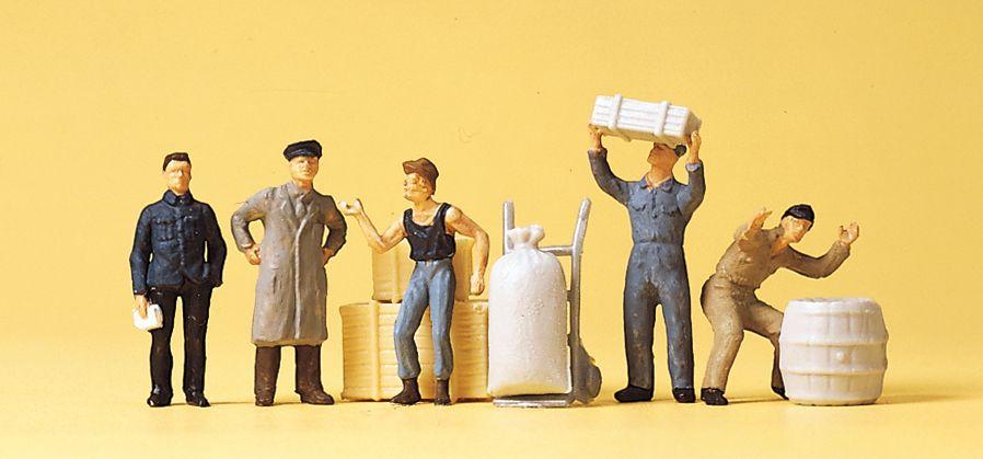1:87 Am Güterschuppen Arbeiter mit Kisten, Säcken, Sackkarre und Fass - Preiser 14147  | günstig bestellen bei Modelleisenbahn Center  MCS Vertriebs GmbH