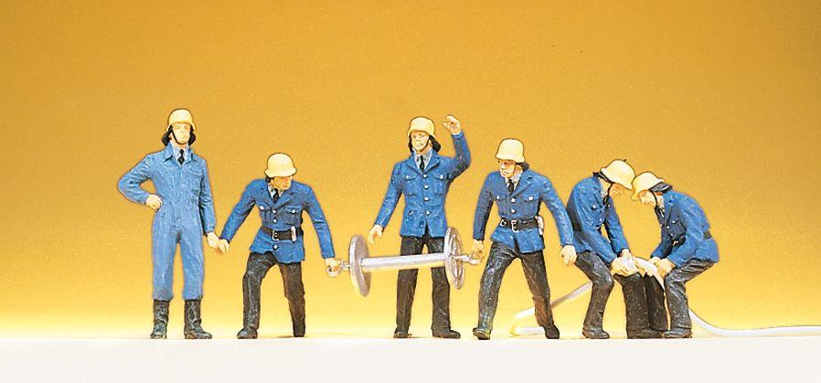 1:87 Feuerwehrmänner mit Schläuchen und Schlauchtrommel- Preiser 14204  | günstig bestellen bei Modelleisenbahn Center  MCS Vertriebs GmbH