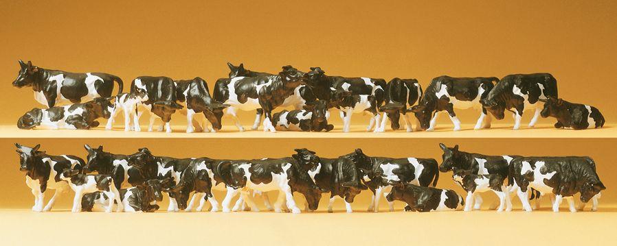 1:87 Kühe, schwarz-weiss, 36 St.- Preiser 14408  | günstig bestellen bei Modelleisenbahn Center  MCS Vertriebs GmbH