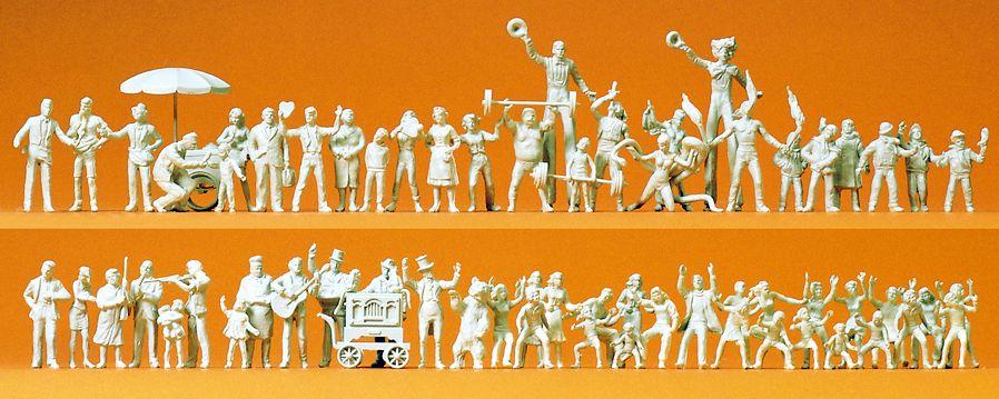 1:87 Volksfestbesucher und Schausteller, unbemalt, 60 St.- Preiser 16342  | günstig bestellen bei Modelleisenbahn Center  MCS Vertriebs GmbH