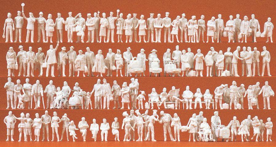 1:87 Am Bahnhof: Figuren mit Zubehör, unbemalt, 120 St.- Preiser 16352  | günstig bestellen bei Modelleisenbahn Center  MCS Vertriebs GmbH