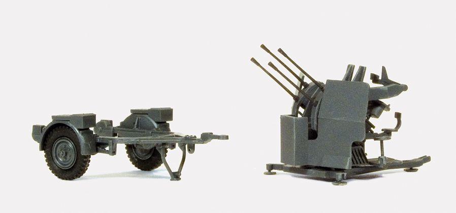 1:87 EDW 2cm Flakvierling 38, mit Sd-Anhänger 52- Preiser 16582  | günstig bestellen bei Modelleisenbahn Center  MCS Vertriebs GmbH