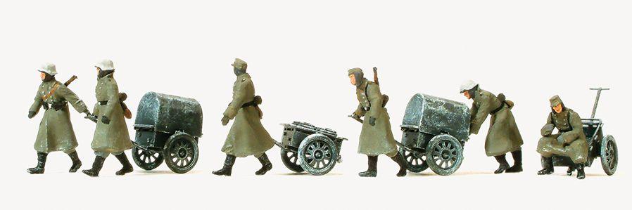1:87 EDW Infanterie gehend mit Winteruniform + Infantriekarre lf 8, Bausatz - Preiser 16592    günstig bestellen bei Modelleisenbahn Center  MCS Vertriebs GmbH