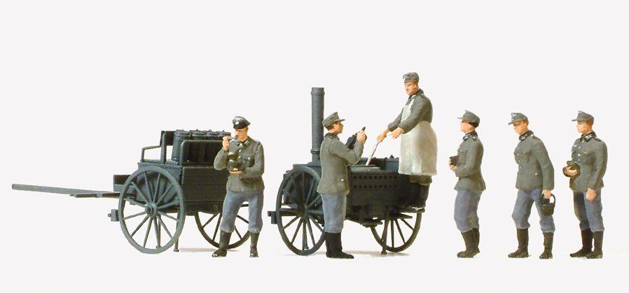 1:87 EDW Essenausgabe mit Feldküche + 6 Figuren, Bausatz- Preiser 16594  | günstig bestellen bei Modelleisenbahn Center  MCS Vertriebs GmbH